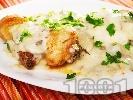 Рецепта Пилешки бутчета с гъбен сос